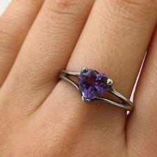 David Sigal 925 Sterling Silver Heart Cut Amethyst Gemstone Ring Size 9