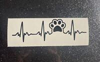 Paw Print Heartbeat Decal, Dog Mom, Puppy, Fur, Decal Sticker Car Window Mug