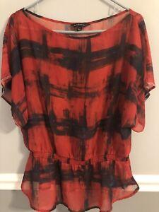Rock & Republic Women's Blouse, Gathered Waist, Red/Black Print, Size M