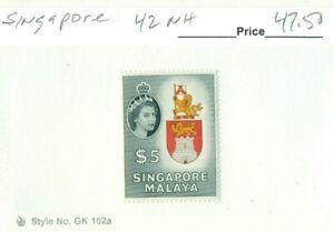 SINGAPORE #42, Mint Never Hinged, Scott $47.50