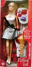 """FASHION ICON  12"""" DOLL with BLACK & WHITE HALTER NECK DRESS AND ACCESSORIES"""