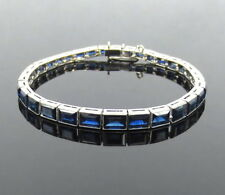 Antique 15.0ct Step Cut Sapphire & Platinum Decorated Tennis Bracelet