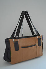 NEW Tan Dark Brown 100% Genuine Leather Mexican Tooled Embossed Floral Hand Bag