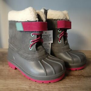 Cat & Jack Toddler Girls Leather Grey/Pink Thermolite Winter Boots, NWT Size 8