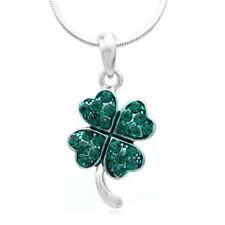 St. Patricks Day Irish Lucky Good Luck Charm Shamrock Four Leaf Necklace Pendant