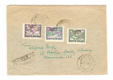 Polen Briefmarken Brief von 1951 Groszy Aufdruck Mi 636, 637, 638 geprüft