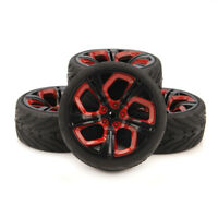4pcs 1/10 RC Racing Tires Car on Road Wheel Rim Rubber Tires P8NKR for HSP HPI