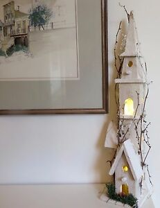 White Wood Xmas House 60 cm decoration & LED lights Handmade Display