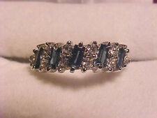 Sapphire Ring Cubic Zirconia Band 18K White Gold HGE Size 6