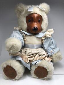 Robert Raikes Bears Vintage Emily Plush Teddy Bear Wooden Face & Feet