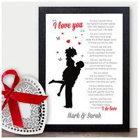 Personalised Love Poem Keepsake Couples Husband Boyfriend Wife Anniversary Gift