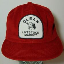 d4b3bcc5b303f Vintage Olean Livestock Cattle PATCH SNAPBACK TRUCKER HAT K-PRODUCTS MADE  IN USA