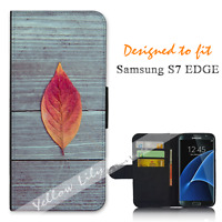 For Samsung Galaxy S7 EDGE Wallet Flip Phone Case Cover Wood Leaf Y00758