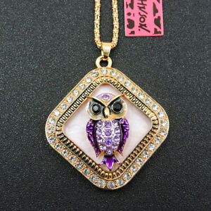 New Purple Charm Enamel Crystal Owl Betsey Johnson Pendant Women Necklace