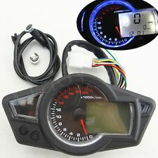 MPH/KMH 22000RPM LCD Digital Odometer Speedometer Tachometer Motorcycle Scooter