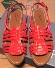 Ann Taylor LOFT Sandals Huaracha Red Faux Leather Braid Back Strap Size 6