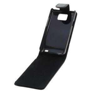 Flip Case Etui Handytasche Tasche Hülle f. Samsung GT-I9100 / I9100 (Schwarz)