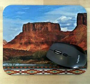 "Mouse Pad, Southwest Red Rocks Landscape, Black Rubber Back, 9""x8"" 1/8"