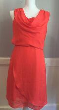 The Limited Womens Sz 10 Chiffon Coral Pink Sleeveless Dress w Exposed Zipper