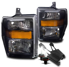 2008-2010 FORD F-250 F-350 SUPER DUTY BLACK CRYSTAL HEADLIGHT LAMP W/50W 6K HID