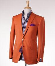 NWT $2995 SARTORIA PARTENOPEA Tangerine Orange Wool Sport Coat 38 R (Eu 48)