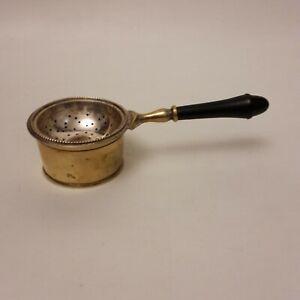wunderschönes antikes 2-teiliges Teesieb mit Halter Silber versilbert ohne Punze