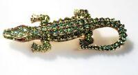 BROOCH beautiful crystal crocodile gold tone green AB rhinestones