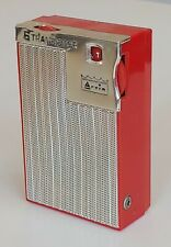 VINTAGE ANTIQUE ATOMIC RED SILVER ARVIN 6 PORTABLE TRANSISTOR RADIO 1950s OLD MT