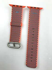 Original Apple Watch Woven NYLON Band silver buckle 42MM 44MM Spicy Orange check