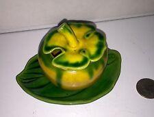 Majolica Mustard Pot Beautiful Yellow Green Glaze Cloverleaf Lid