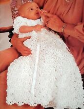 CROCHET PATTERN Christening gown vintage dress 18-22 in lacy frilled sleeve 280