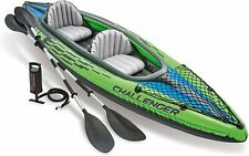 Intex Challenger K2 2 Person Inflatable Kayak Canoe Boat + Pump + Oars Set - UK