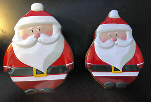 Christmas Holiday Tin Container Cookie Santa Claus  New lot of 2 different sizes