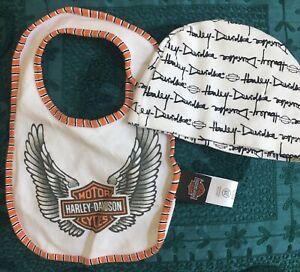 harley davidson baby cap hat bib new Harley-Davidson Motorcycle 3-6 Mo Cotton
