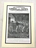 1914 WW1 Originale Stampa Tedesca Nave da Guerra Casemate Batteria Machine Gun