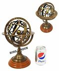 """11"""" Maritime Solid Brass Sphere Armillary Collectible Nautical Decor Wooden Base"""
