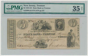 1824-1825 Trenton New Jersey $3 Bank Note. PMG VF35