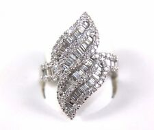 Bypass Baguette & Round Cluster Diamond Fashion Ring Band 18k White Gold 1.57Ct