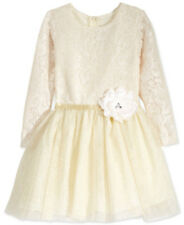 Rare Editions Little Girls Mesh Lace to Tulle Sparkle Long Sleeve Dress Ivory 4T