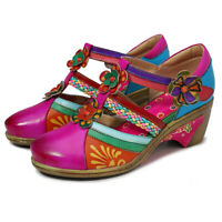 Women Bohemian Vintage Mary Jane Shoes Floral Leather Splicing Block Sandals