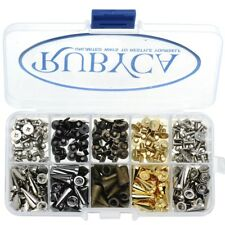 RUBYCA 125pcs 14mm Metal Cone Spikes Studs Screw Mixed Colors Leathercraft Kit