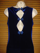Women's Junior Blue Velvet Evening Formal Gown Prom Dress Sz 9/10 Side Slit