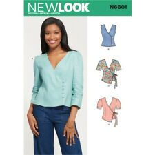 New Look Women's Semi-Fitted Front-Wrap Top with Button or Tie Closure 6601