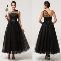 One shoulder Formal Evening Wedding Prom Gown Bridesmaid Dress UK Size 6-18/20