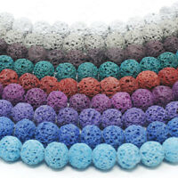 "Dyed Lava Rock Beads Natural Round Loose 8mm 15.5"" Strand"