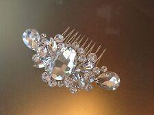 2 x Pieces VINTAGE CRYSTAL BRIDAL HAIR COMB Accessory Silver Bride Wedding Clip