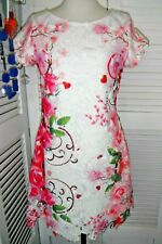 COTTON CLUB UK 14 BNWOT EXQUISITE WHITE FLORAL LACE OVERLAY OCCASSION DRESS EU42