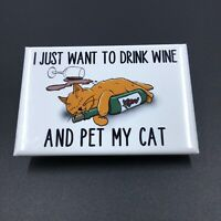Funny Orange Cat and Wine Magnet Handmade Kitty Gifts and Kitchen Decor