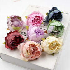 10Pcs Silk Peony Rose Flower Heads Bridal Wedding Bouquet DIY Decor Fake Bouquet