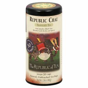 The Republic Of Tea Chai Traveler's Black Tea 50 Tea Bag Tin